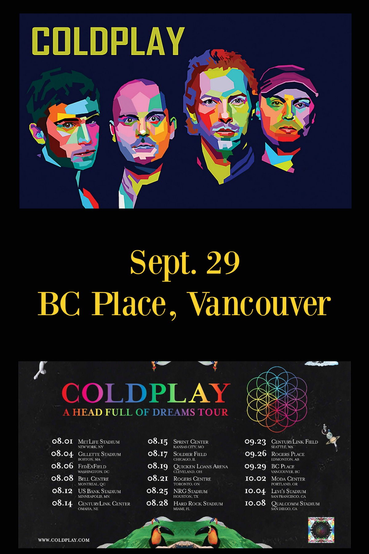 Coldplay Head Full of Dreams Tour at BC Place, Vancouver, BC