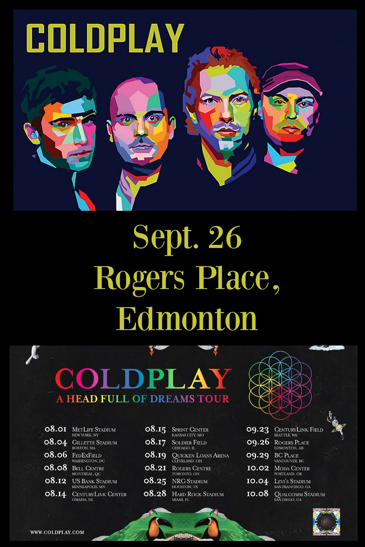 Coldplay Head Full of Dreams Tour - Rogers Place Edmonton