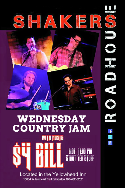 Wednesday Country Jam with $4 Bill at Shakers Roadhouse