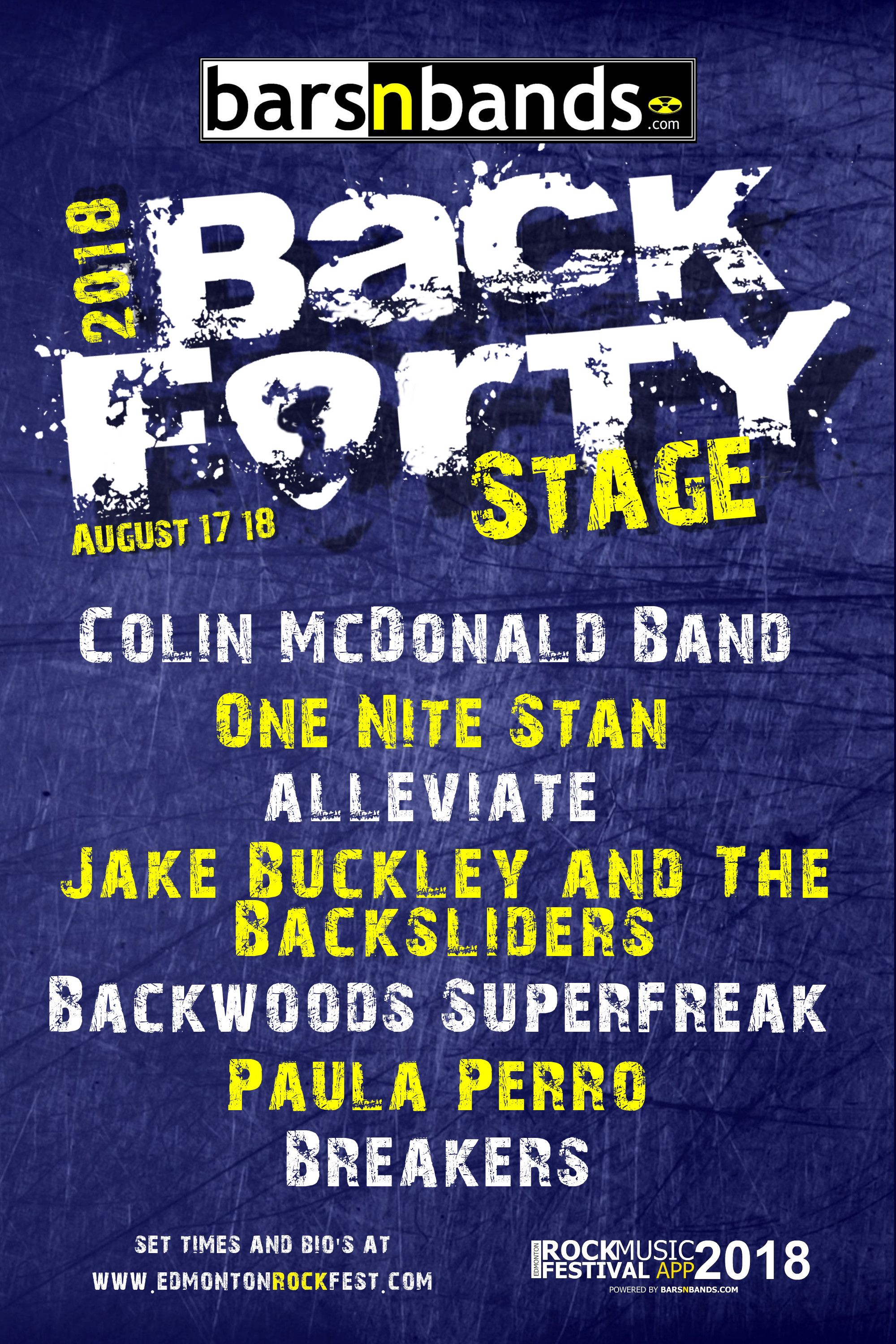 Barsnbands.com Back-Forty Stage at the 2018 Edmonton Rock Music Festival