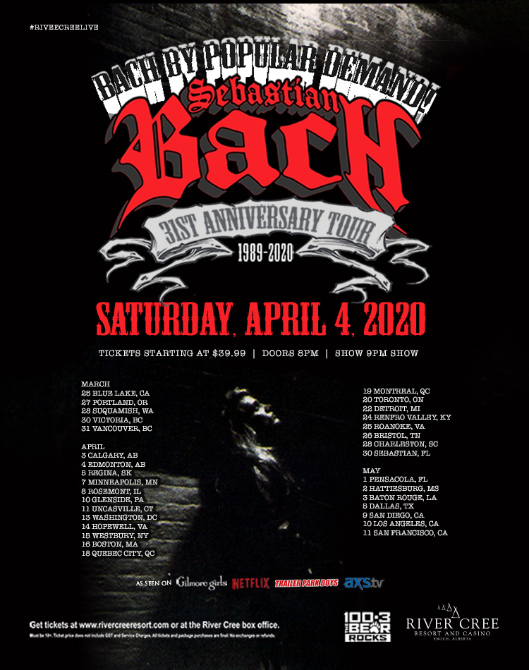 Postponed - SEBASTIAN BACH'S 30TH ANNIVERSARY OF SKID ROW @ River Cree Resort and Casino